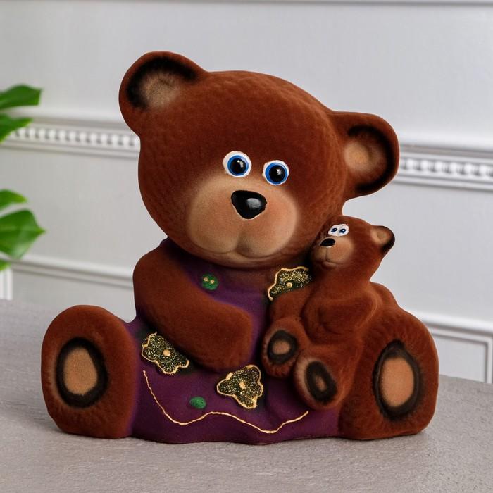 """Копилка """"Медведица с малышом"""" флок, коричневая, микс"""