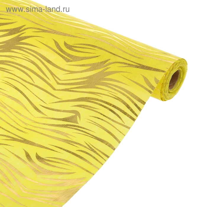 """Фетр с рисунком золотом """"Водоросли"""" жёлтый 50 см х 10 м"""
