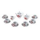 """Сервиз чайный """"Рубин"""", 15 предметов: чайник 800 мл, сахарница 600 мл, сливочник 350 мл, 6 чашек 250 мл, 6 блюдец 15 см"""