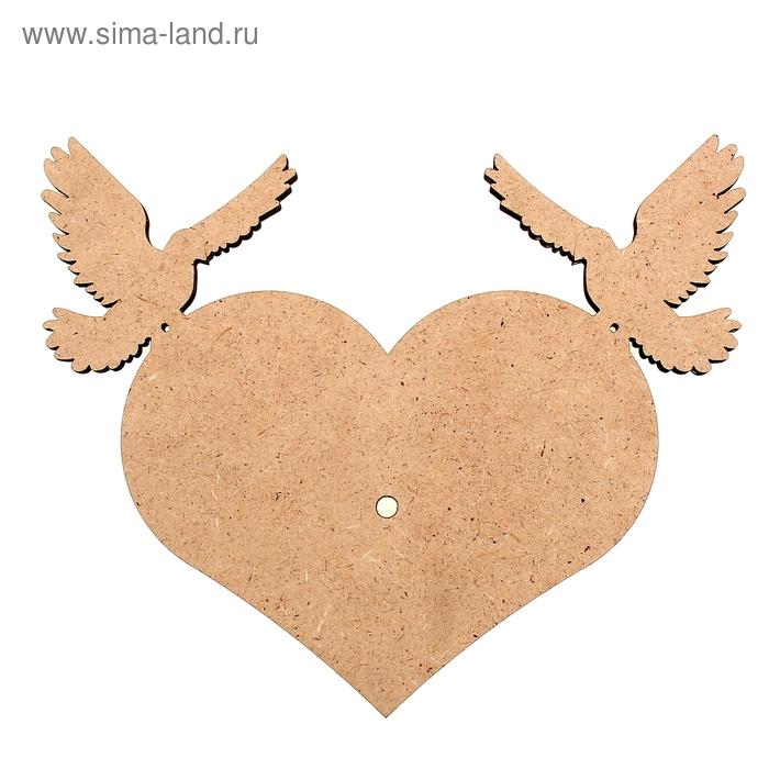"""Заготовка для декора """"Сердце с голубями"""" часы"""
