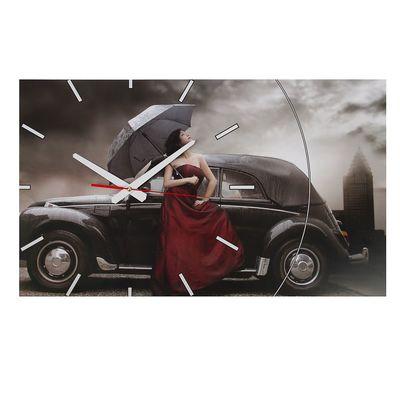 """Часы-картина настенные, серия: Люди, """"Rain"""", 61х37  см, микс"""