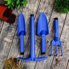 Набор, 4 предмета в футляре-сумке: рыхлитель, тяпка, совок большой, совок малый
