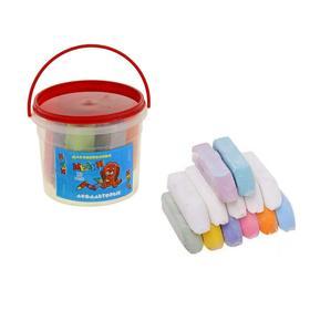 Мелки цветные для асфальта 13 штук (8 цветных + 5 белых) «Квартет», квадратные
