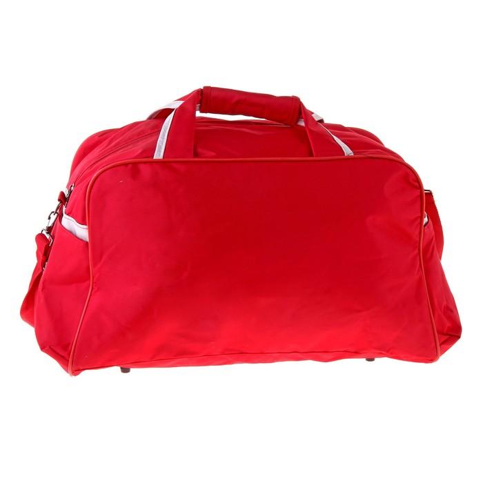 Сумка дорожная, 1 отдел, 3 наружных кармана, ремень, красно-серый