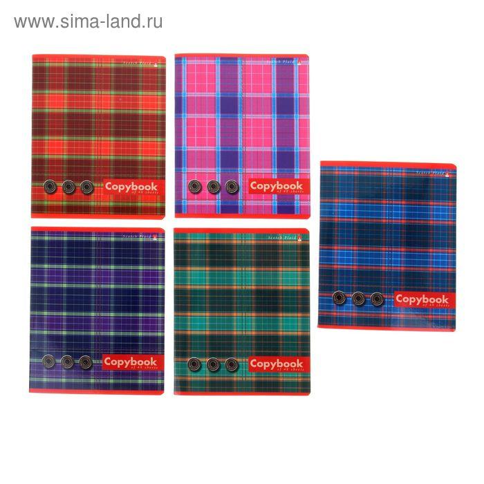 """Тетрадь 48 листов клетка """"Шотландка"""", картонная обложка, лак, 5 видов МИКС"""