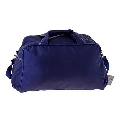 Сумка дорожная, 1 отдел, 3 наружных кармана, ремень, сине-серый