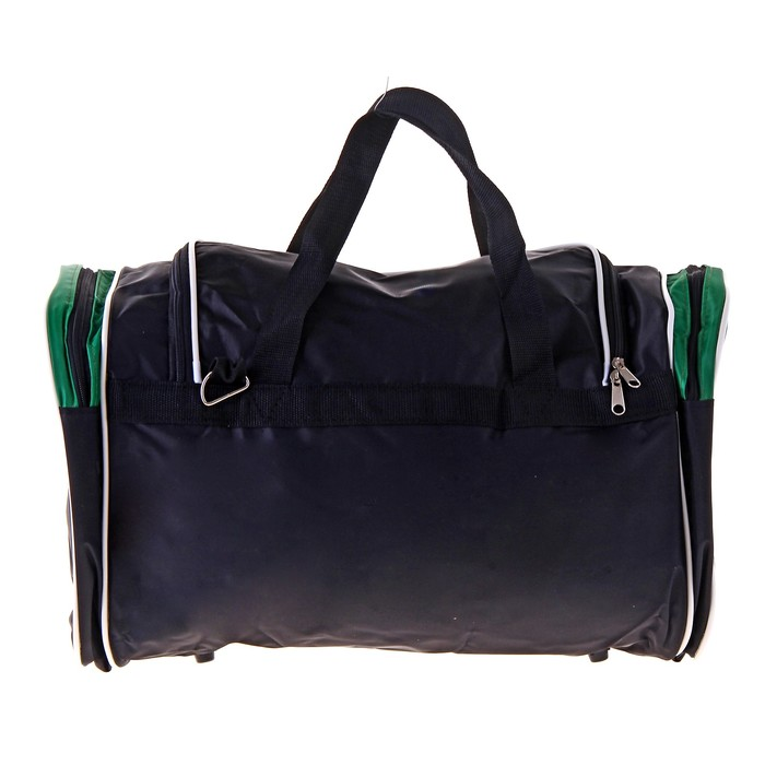 Сумка дорожная на молнии, 1 отдел, 3 наружных кармана, длинный ремень, цвет чёрный/зелёный