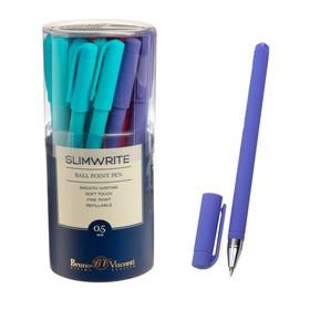 Ручка шариковая SlimWrite. JOY, узел 0.5 мм, синие чернила, матовый корпус Silk Touch, МИКС