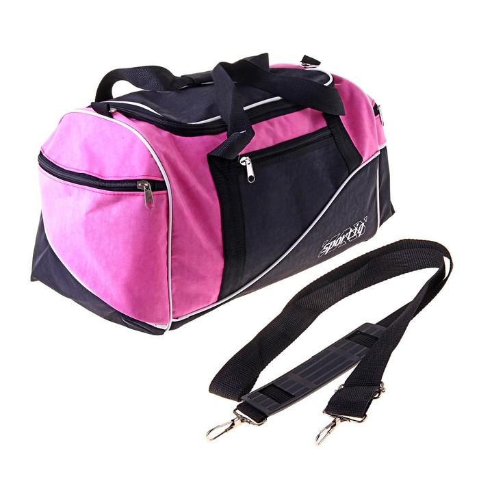 Сумка дорожная 1 отдел, 3 наружных кармана, ремень, розово-черный