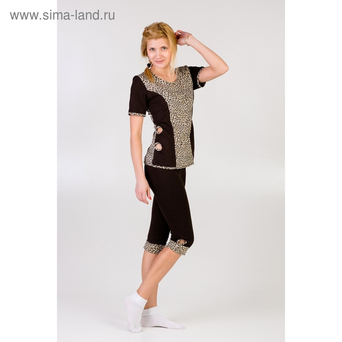 Комплект женский (футболка, бриджи) Тамара леопард МИКС, р-р 44