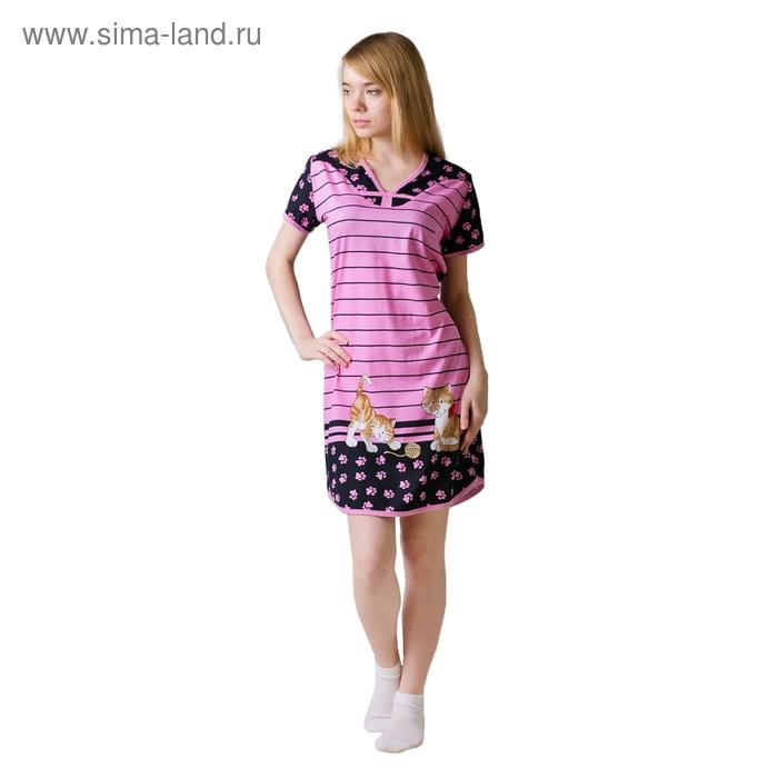 Туника женская Лапки МИКС розовый, р-р 46
