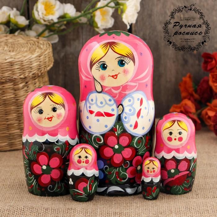Матрёшка «Веселушка», розовый платок, 5 кукольная, 17 см