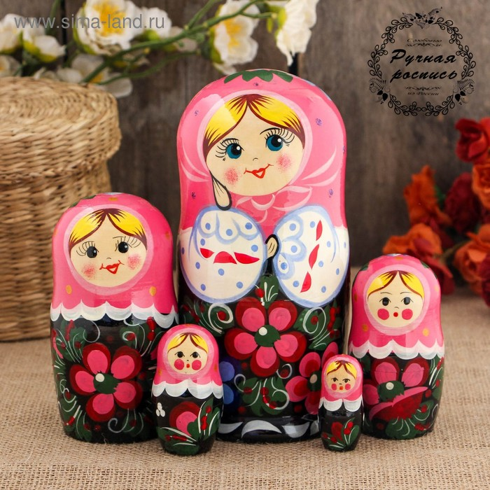 Матрёшка «Веселушка», красный платок, 5 кукольная, 17 см