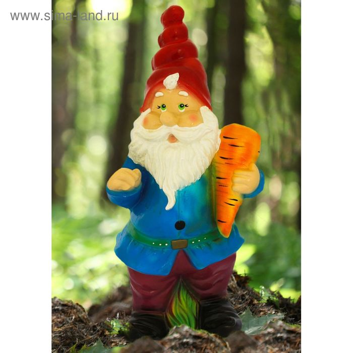 """Садовая фигура """"Гном с морковью"""""""