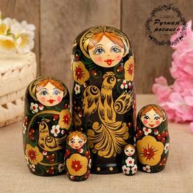 "Matryoshka ""Bird of happiness"", the painted shawl, 5 doll 17 cm"