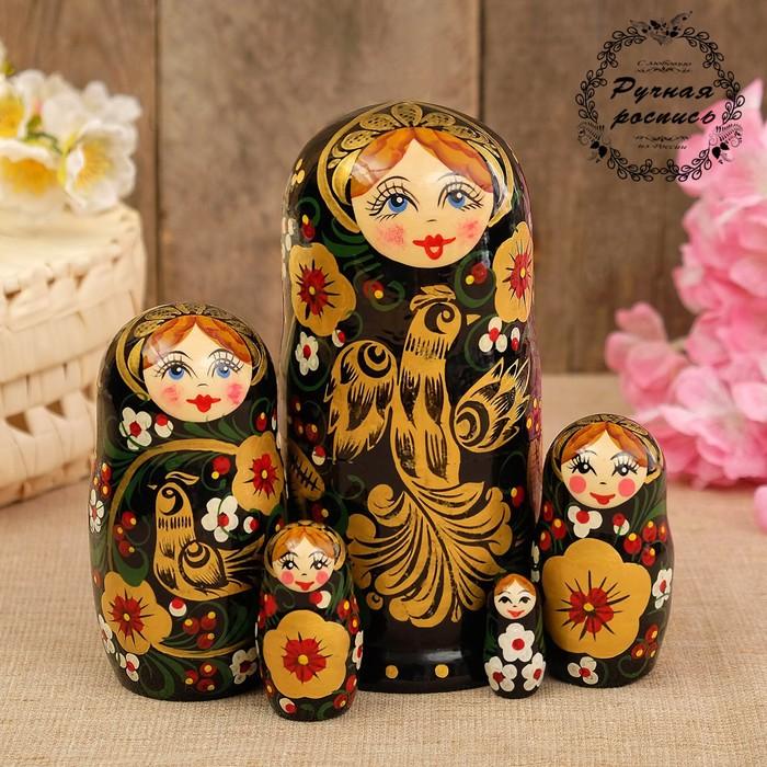 Матрёшка «Птица счастья», расписной платок, 5 кукольная, 17 см