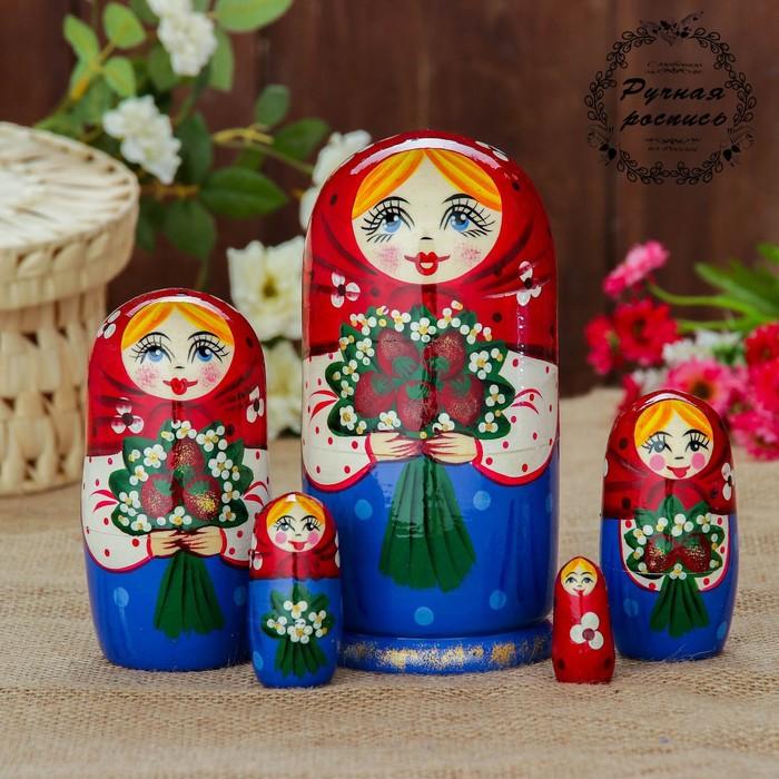 Матрёшка «Ягодный букет», красный платок, 5 кукольная, 17 см, микс
