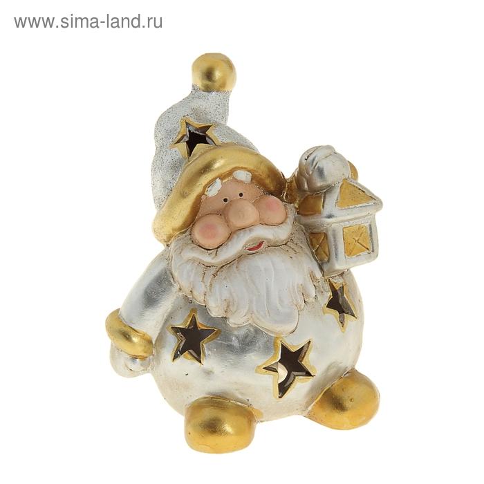 """Сувенир """"Дед Мороз в серебряной шубе со звёздами и фонарём"""" световой"""