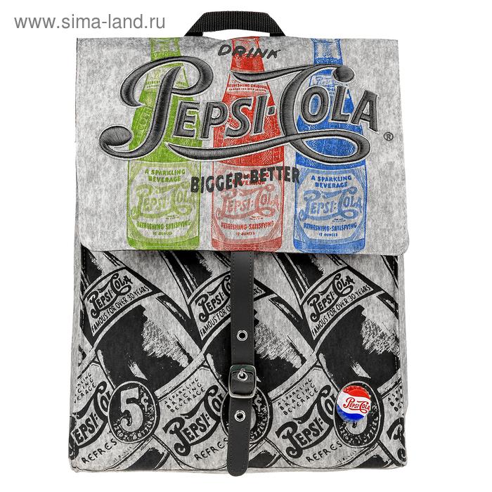 Рюкзак молодежный Pepsi 39*29*12, с клапаном на магните, серый