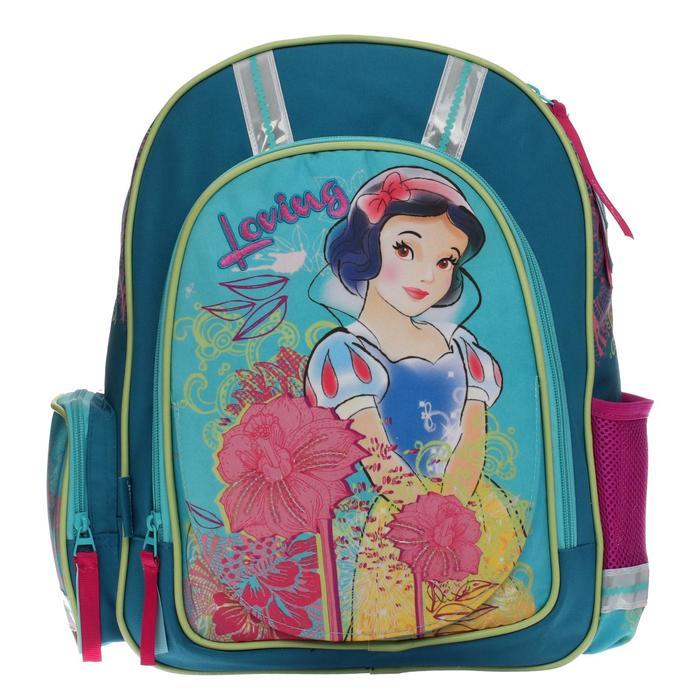 """Рюкзак школьный эргономичная спинка Disney """"Принцесса"""" 39*30*12, для девочки, бирюза"""