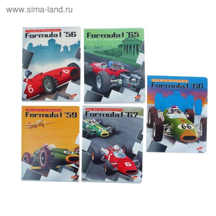 Тетрадь 40 листов клетка Formula-l, Retro, картонная обложка, полный УФ-лак, МИКС