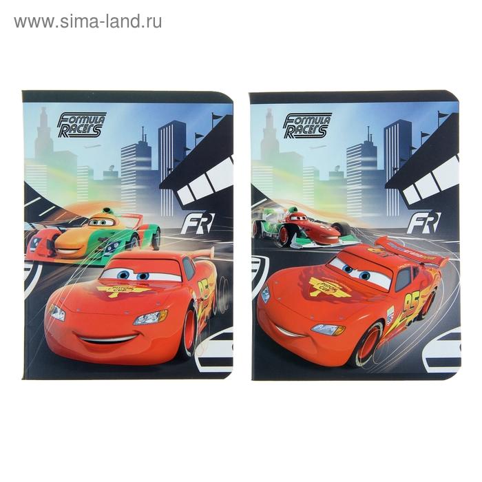 Записная книжка А6, 48 листов на скрепке Cars, выборочный УФ-лак, МИКС