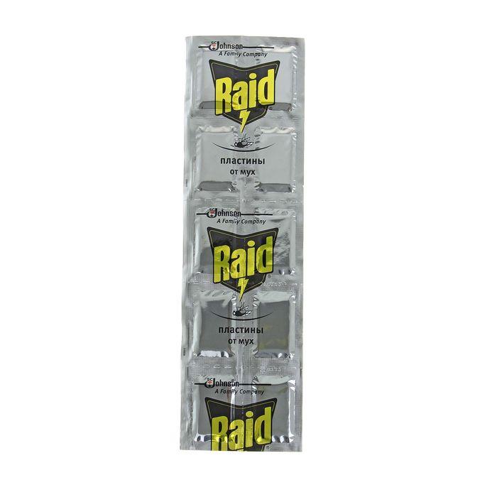 Пластины от мух Raid, 10 шт.