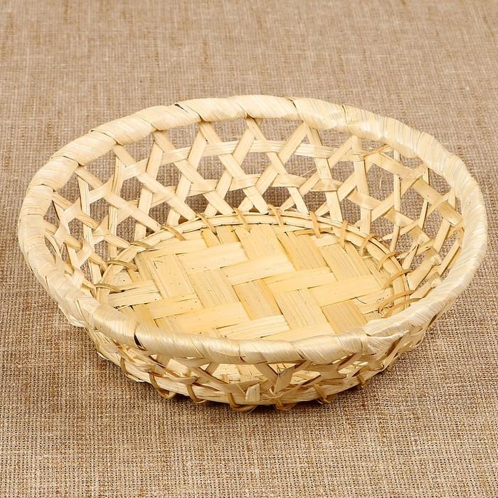 Фруктовница «Плетёнка», редкое плетение, 16х4,5 см, бамбук
