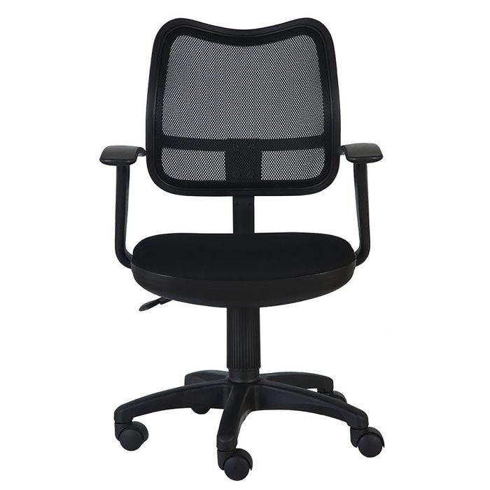 Кресло Бюрократ с подлокотниками , черный, спинка сетка, CH-797AXSN/26-28