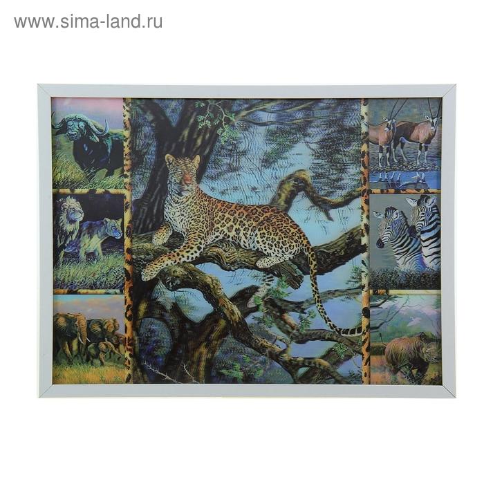 "Картина объёмная 3D коллаж ""Леопард"""