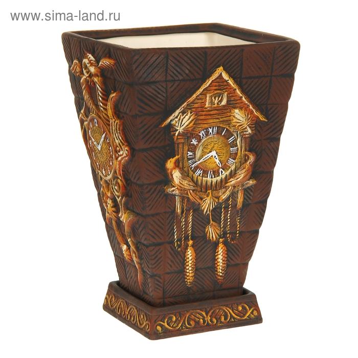 """Кашпо """"Старинные часы"""" коричневое, 19 л"""