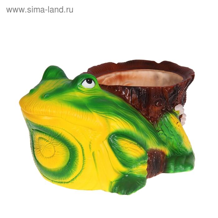 """Фигурное кашпо """"Жёлто-зелёная жаба"""" 20 л"""