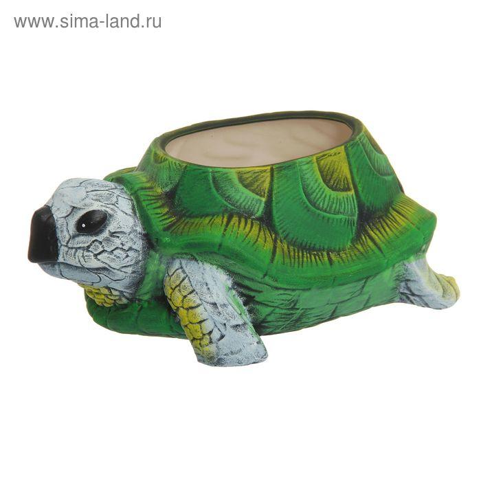"""Фигурное кашпо """"Зелёная черепаха"""" рисунок, 16 л"""