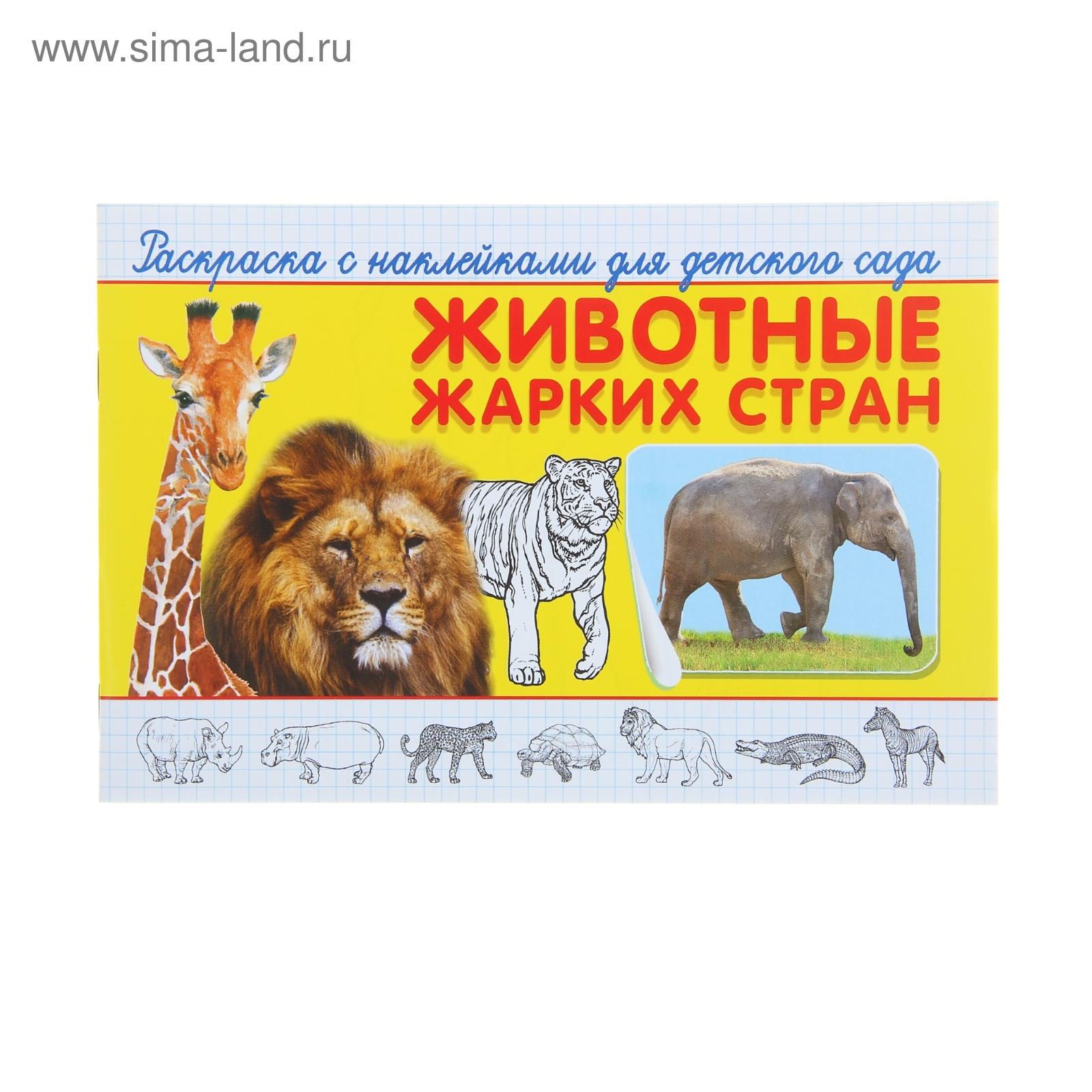 раскраска с наклейками животные жарких стран 16стр