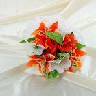 Букет-дублёр для невесты «Лилии», бело-оранжевый, 5 шт.