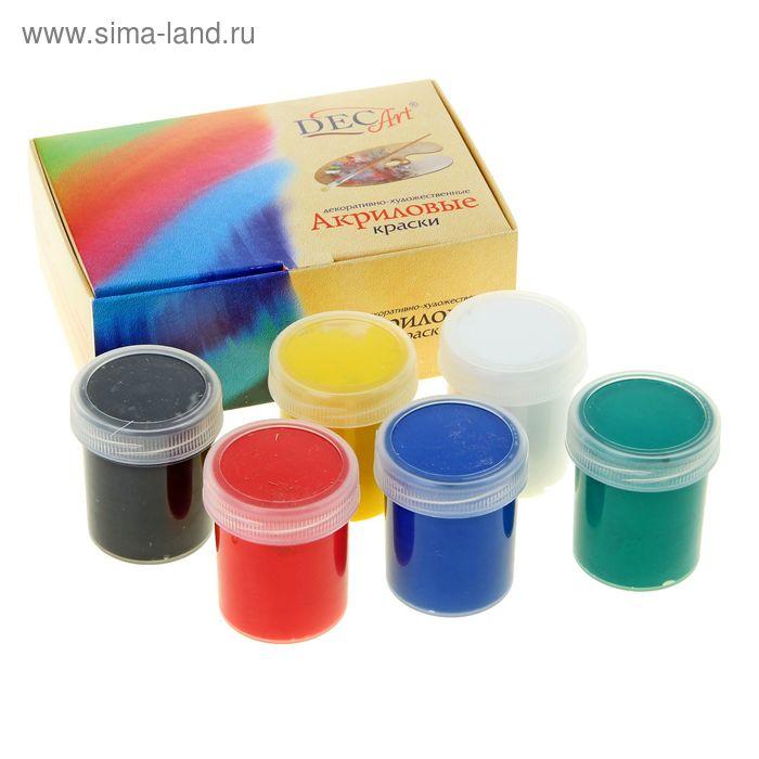 Краска акриловая, набор 6 цветов по 40 мл DecArt