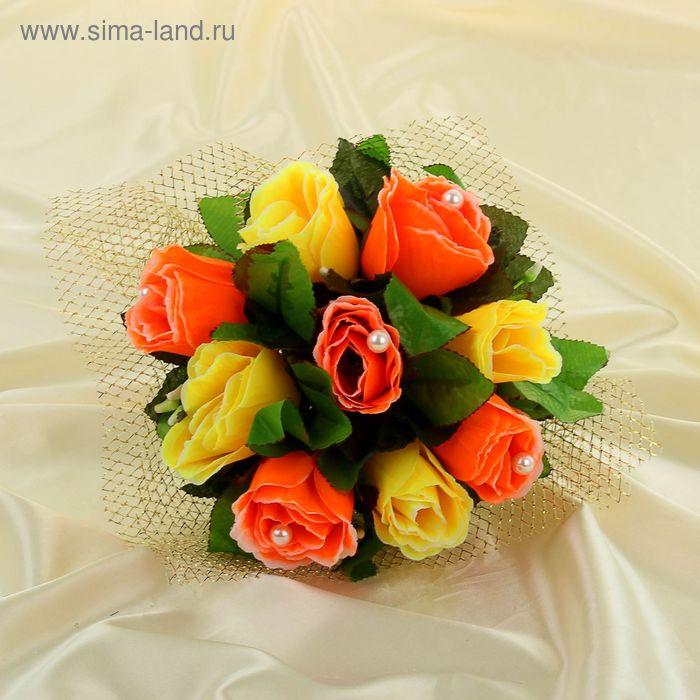 Дублер букета невесты с розами с блестящей сеткой  жёлто - оранжевый 7 шт