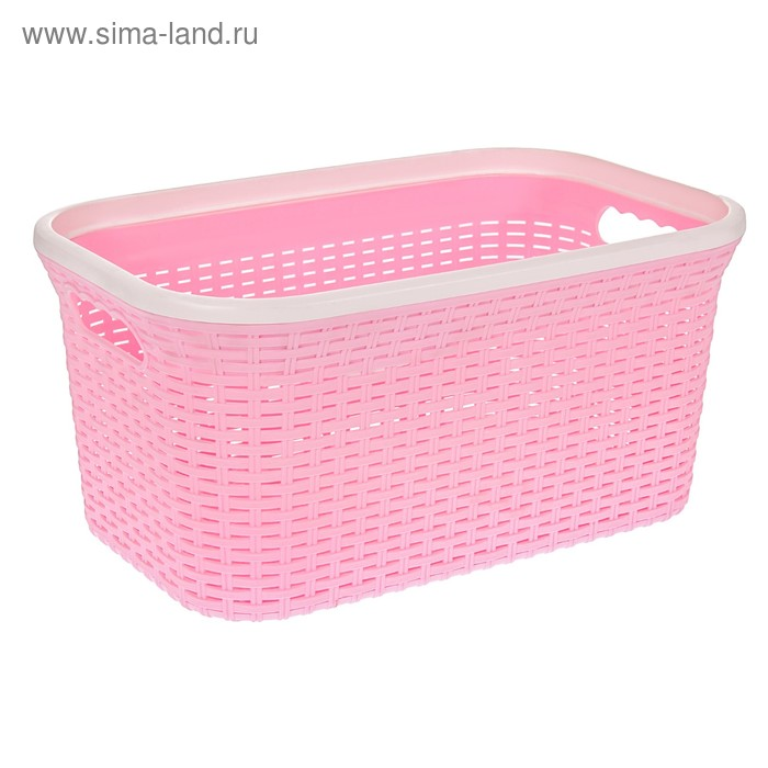 """Корзина для глаженного белья прямоугольная 32 л """"Ротанг"""", цвет розовый"""