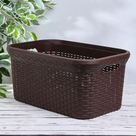 Корзина для глаженного белья «Ротанг», 38 л, 35×54×25 см, цвет коричневый