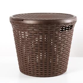 Корзина для белья с крышкой «Ротанг», 20 л, 35×35×29 см, цвет коричневый