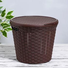 Корзина для белья круглая с крышкой «Ротанг», 15 л, 32×32×27 см, цвет коричневый Ош