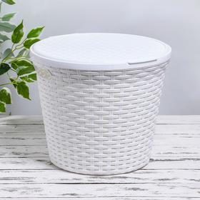 Корзина для белья круглая с крышкой Виолет «Ротанг», 20 л, 35×35×29 см, цвет белый Ош