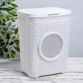 Корзина для белья с крышкой «Ротанг», 40 л, 37×29,5×48 см, с иллюминатором, цвет белый
