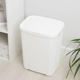 Корзина для белья с крышкой «Ротанг», 40 л, 37×29×48 см, цвет белый - фото 4637144