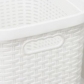 Корзина для белья с крышкой «Ротанг», 40 л, 37×29×48 см, цвет белый - фото 4637145