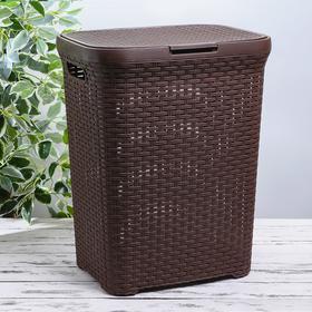 Корзина для белья с крышкой «Ротанг», 60 л, 34×44×56 см, цвет коричневый