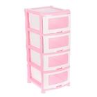 """Комод 4 секции """"Плетёнка"""", цвет розовый/белый"""