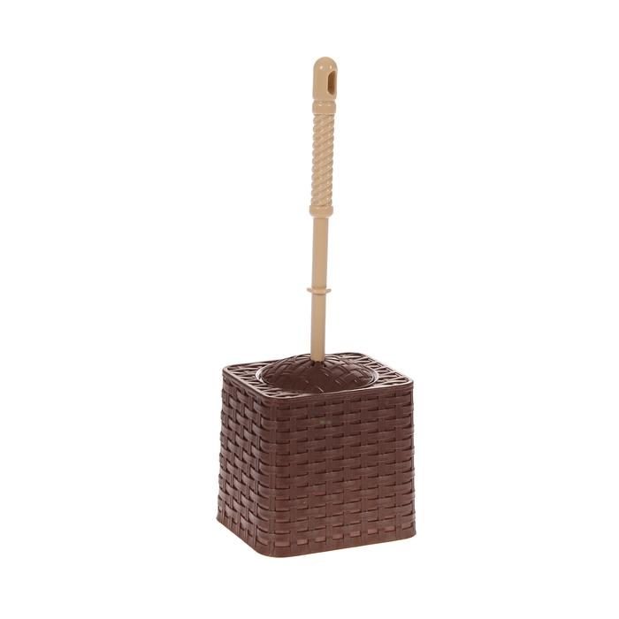 """Ерш для унитаза с подставкой """"Ротанг"""", цвет коричневый"""