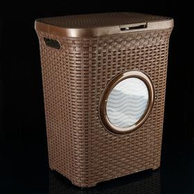 Корзина для белья с крышкой и иллюминатором 60 л, 35×44×55 см, цвет коричневый