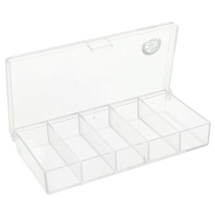 Коробочка СВ-01 прозрачная 5 отделений, размер 10 × 5 × 1,7 см